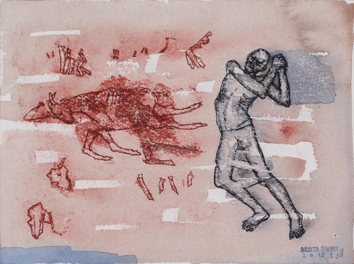 """Arpita Singh   Chasing Away an Animal   Watercolour on paper   9"""" x 12""""   2015"""