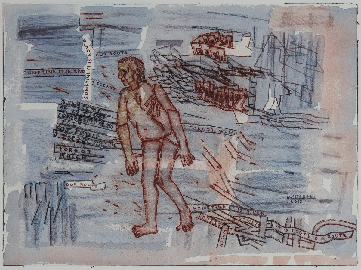 "Arpita Singh   Untitled   Watercolour on paper   9"" x 12""   2015"