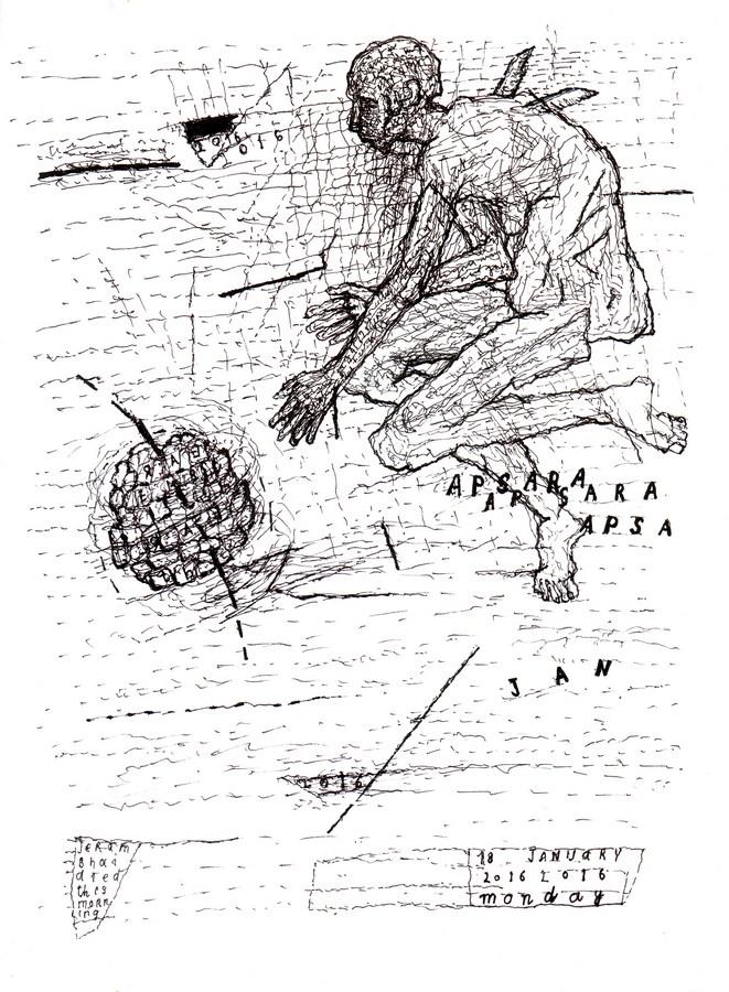 """Arpita Singh   Apsara   Drawing on paper   11"""" x 8.5""""   2016"""