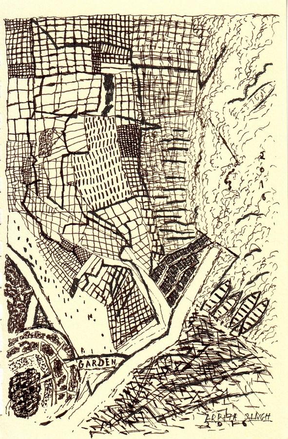 """Arpita Singh   Garden   Drawing on paper   7"""" x 4.5""""   2016"""