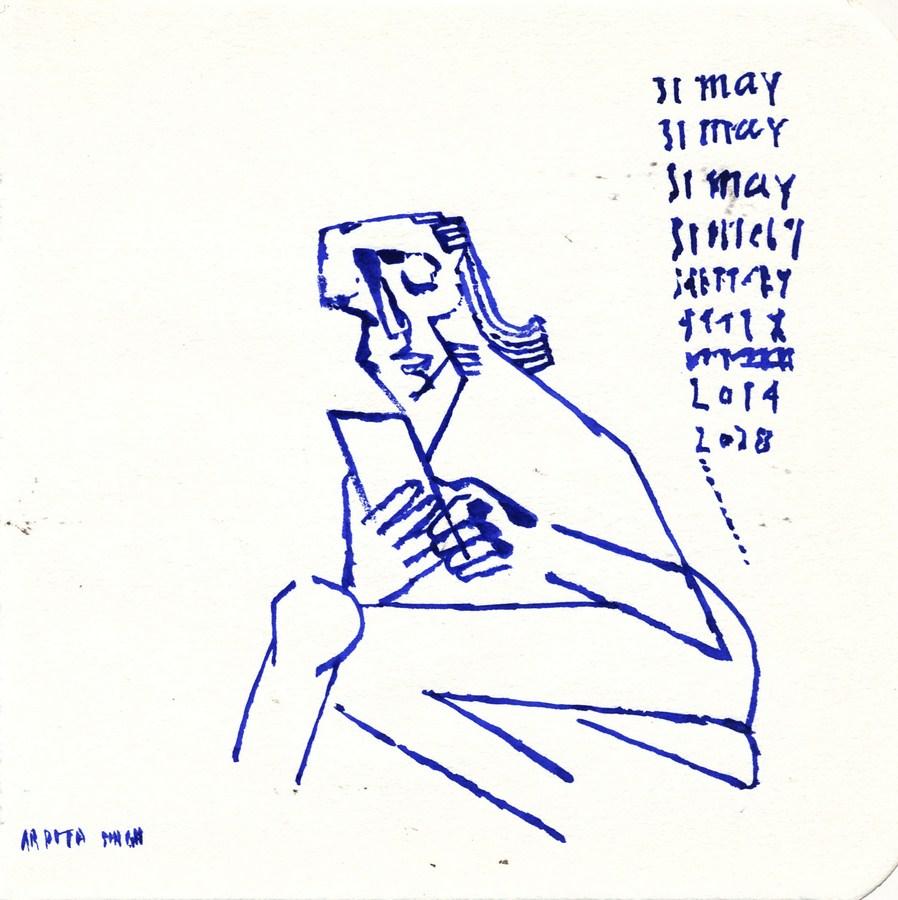 "Arpita Singh   Untitled   Pen & Ink on paper   6"" x 6""   2014"