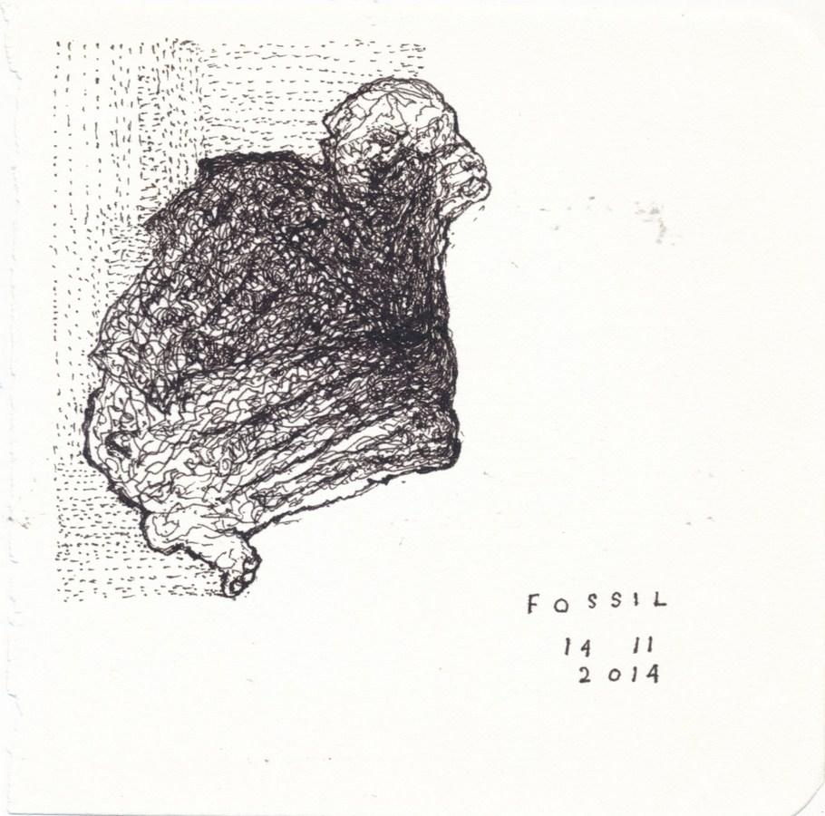 "Arpita Singh   Fossil   Pen & Ink on paper   6"" x 6""   2014"
