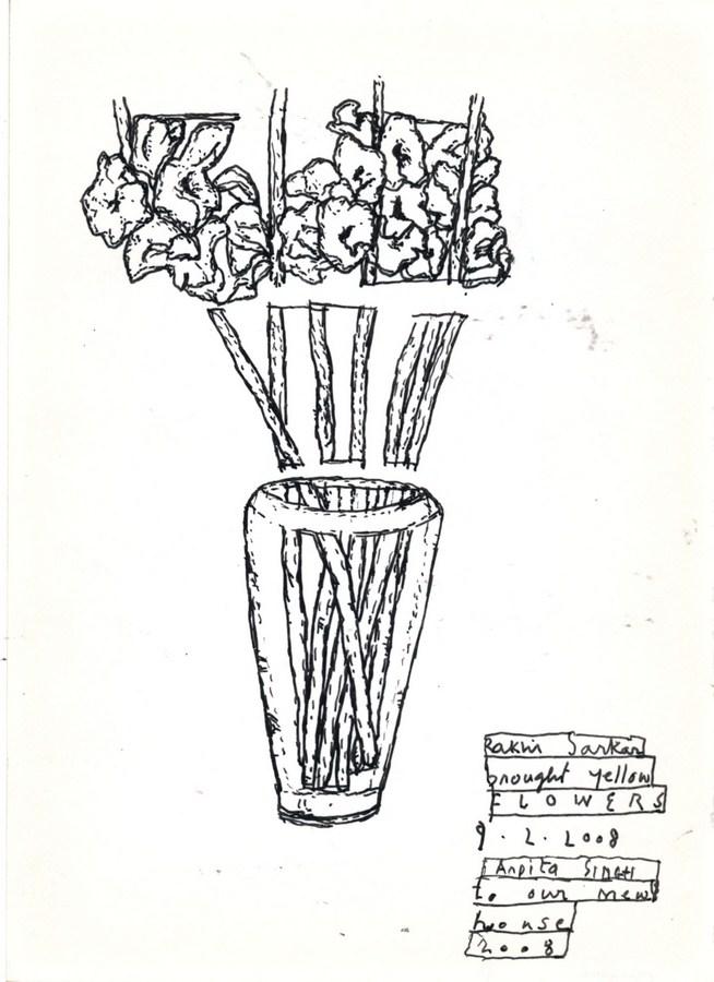 """Arpita Singh   Rakhi Sarkar brought Yellow Flowers   Pen & Ink on paper   7"""" x 5"""""""