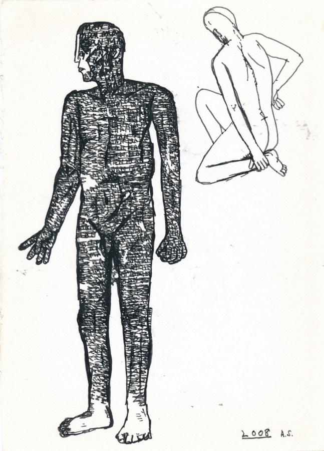 "Arpita Singh   Untitled   Pen & Ink on paper   7"" x 5""   2008"
