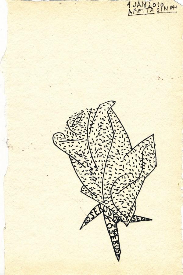 "Arpita Singh   Untitled   Pen & Ink on paper   8"" x 5""   2010"
