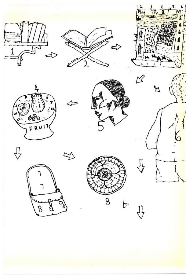 "Arpita Singh   Untitled   Pen & Ink on paper   8"" x 6"""