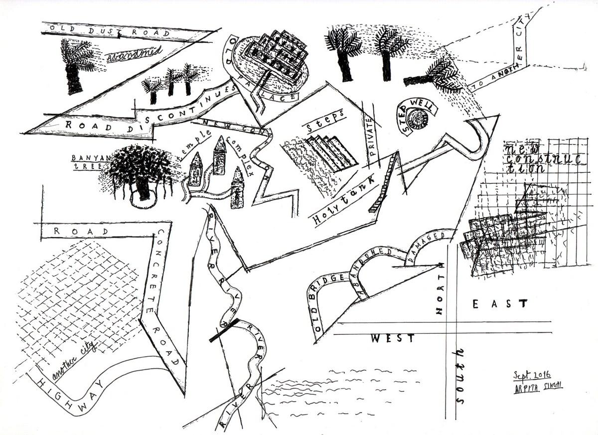 "Arpita Singh   Untitled   Drawing on paper   9"" x 11.75""   2016"