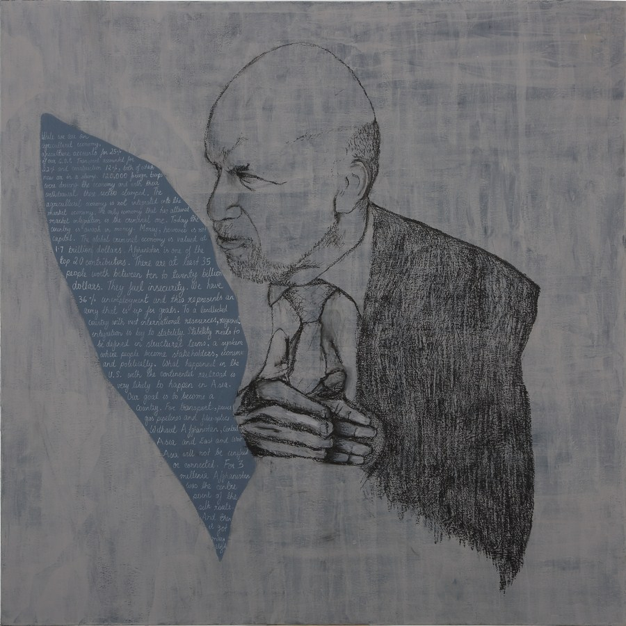 "Ashraf Ghani Outlines his Vision | Acrylic , charcoal & chalk pencil on canvas | 47"" x 47"" 