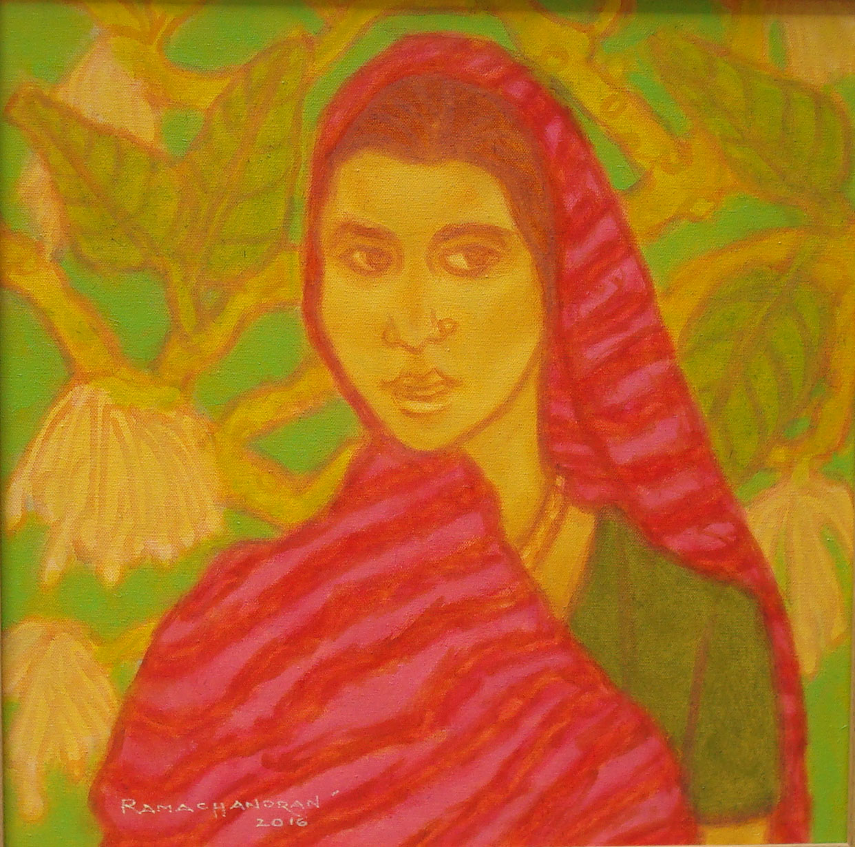 "A. Ramachandran | Woman with Red Saree | Oil on canvas | 19"" x 19"""