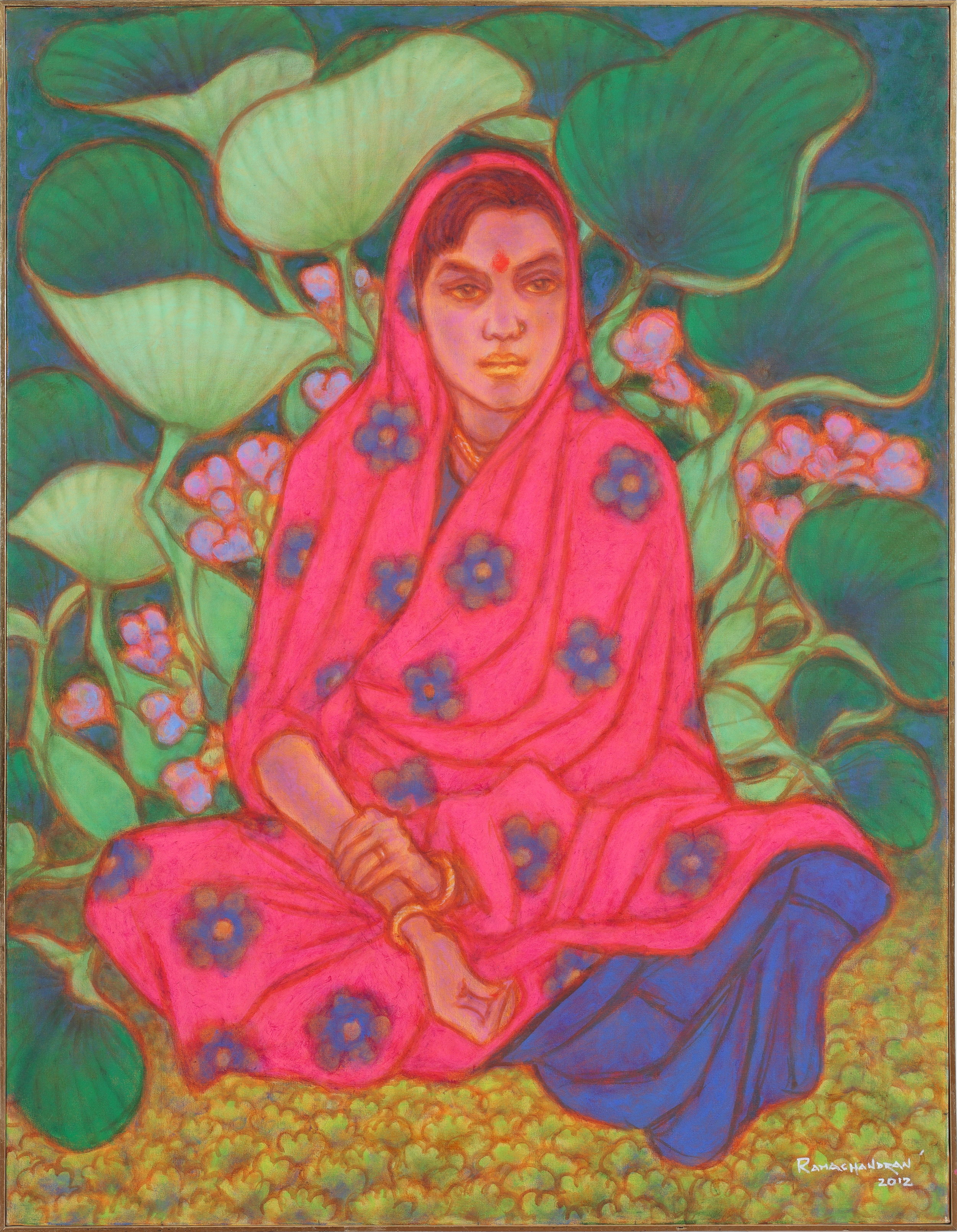 "A. Ramachandran | Girl with water hyacinth | Oil on canvas | 46"" X 36"" 