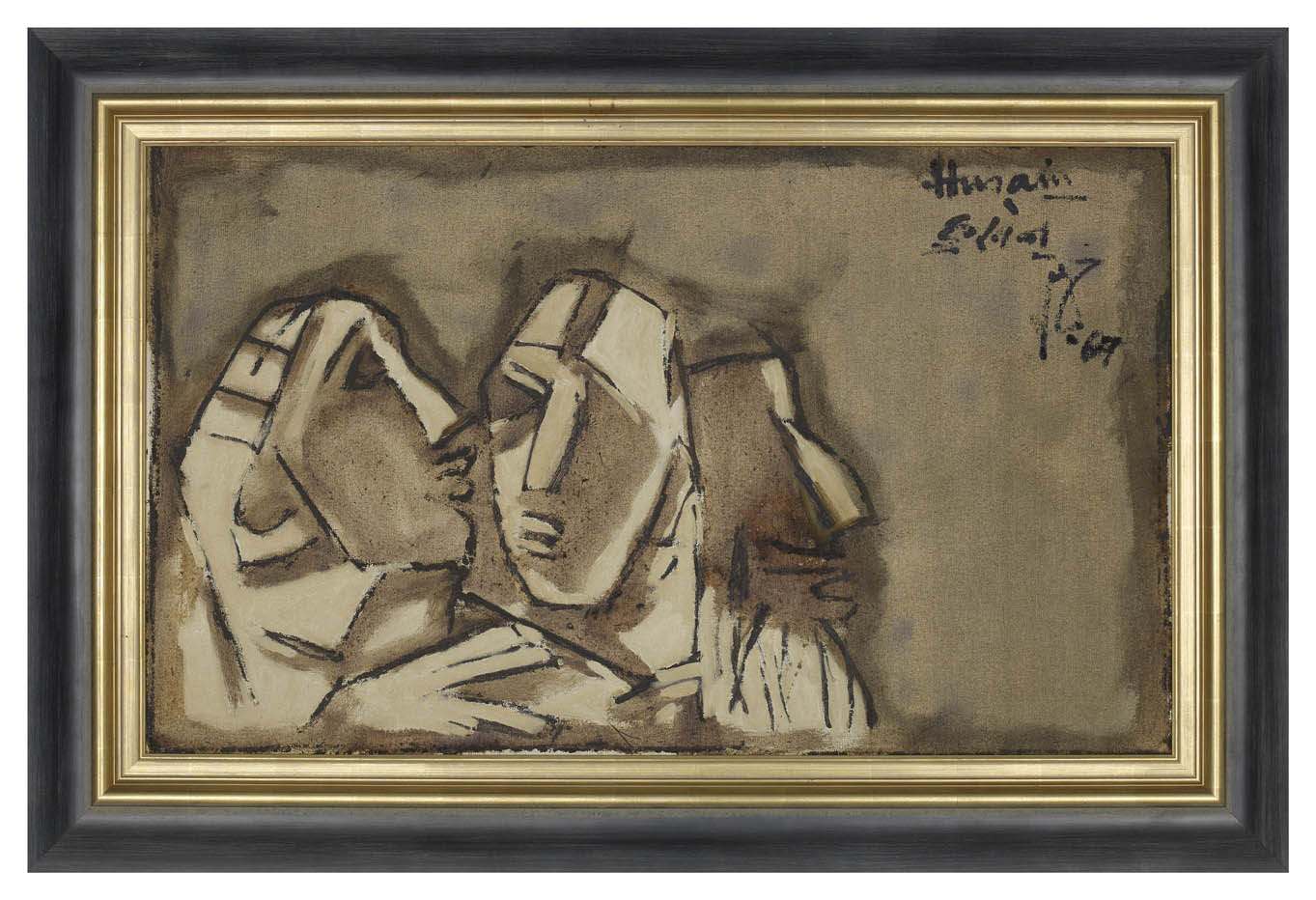 "M.F. Husain | Trio | Oil on canvas | 21"" x 35"" 