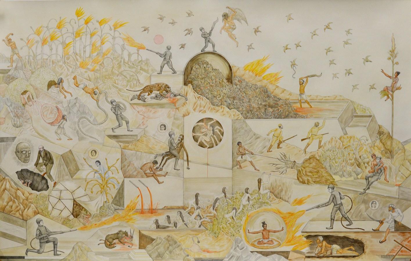 "Shrimanti Saha | Cunningham's Hole | Graphite,pencil colours, water colour, casein, collage on paper | 37"" x 58"" | 2017"