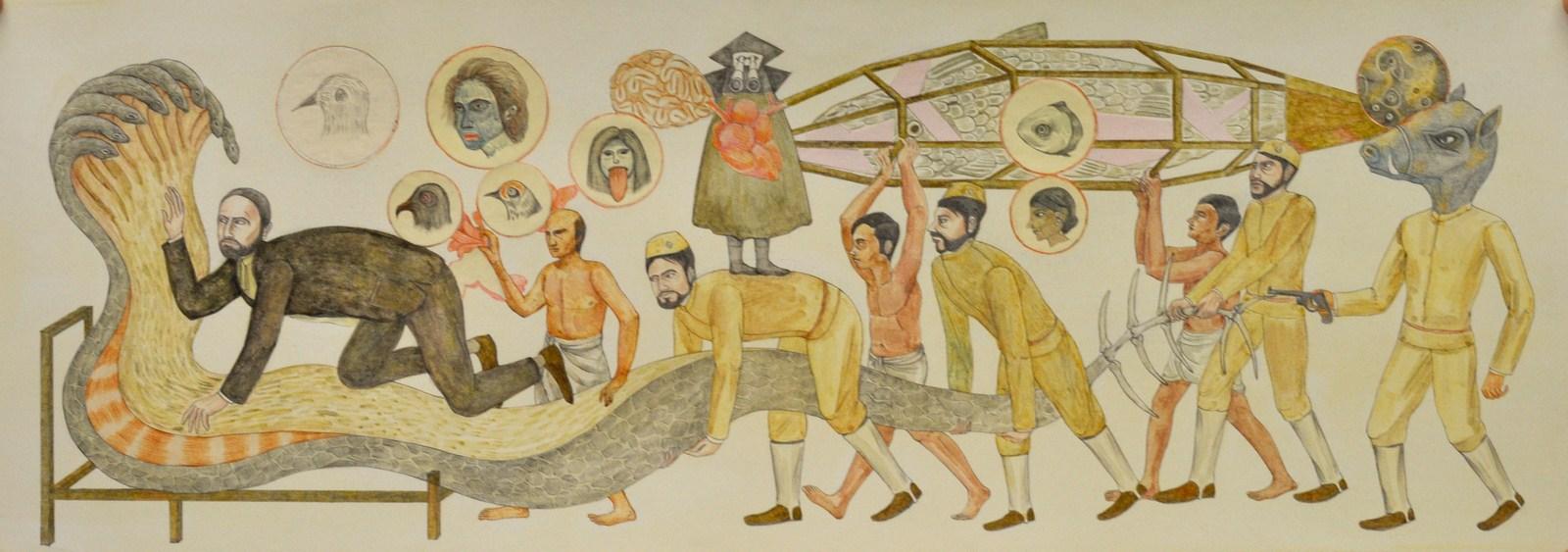 "Shrimanti Saha | The Bed | Graphite,pencil colours, water colour, casein, collage on paper | 8"" x 22"" | 2017"