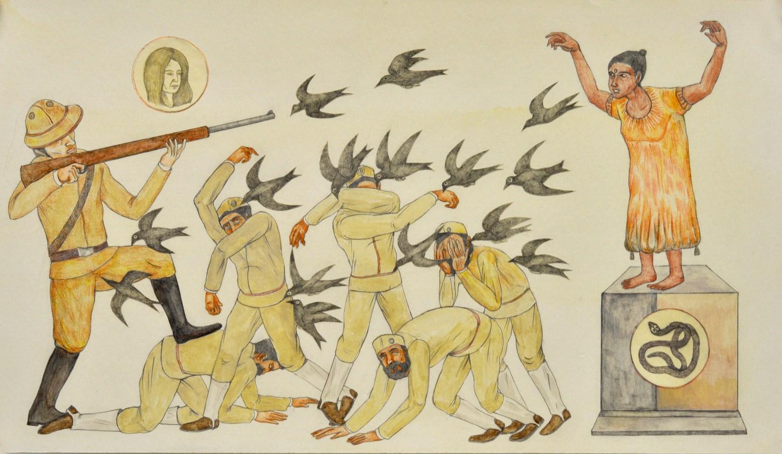 "Shrimanti Saha | Worshipper | Graphite,pencil colours, water colour, casein, collage on paper | 8"" x 14"" | 2017"