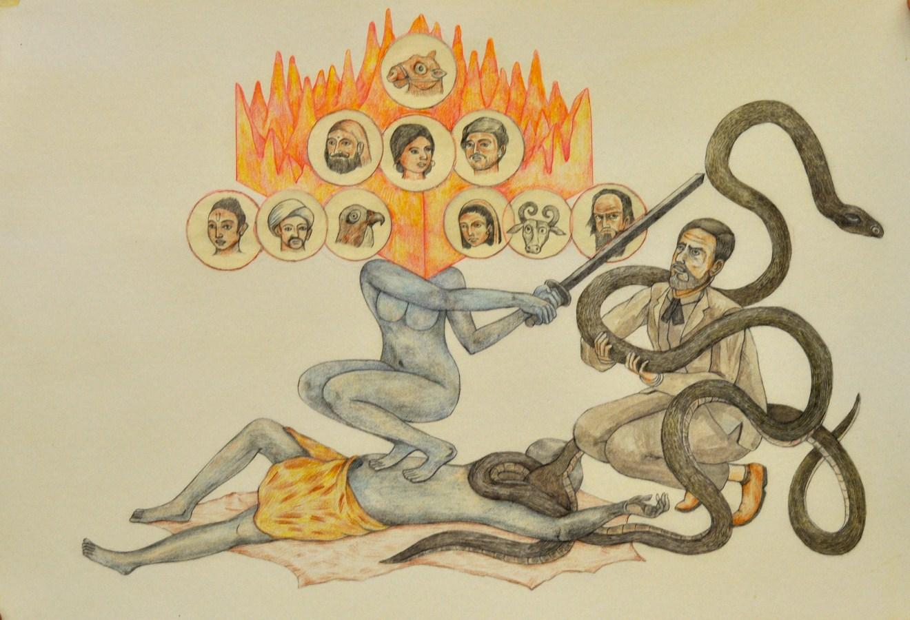 "Shrimanti Saha | Slayer God | Graphite,pencil colours, water colour, casein, collage on paper | 8"" x 12"" | 2017"