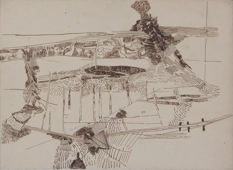"""Ram Kumar   Untitled   Pen & ink on paper   11"""" x 15""""   1971"""