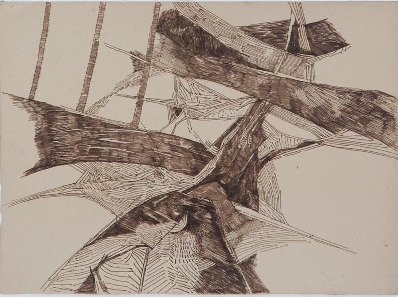 """Ram Kumar   Untitled   Pen & ink on paper   11"""" x 15""""   1975"""