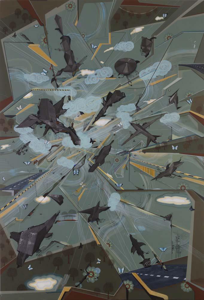 "Speed Metals | Acrylic, fabric & glue on canvas | 114"" x 78"" | 2017"
