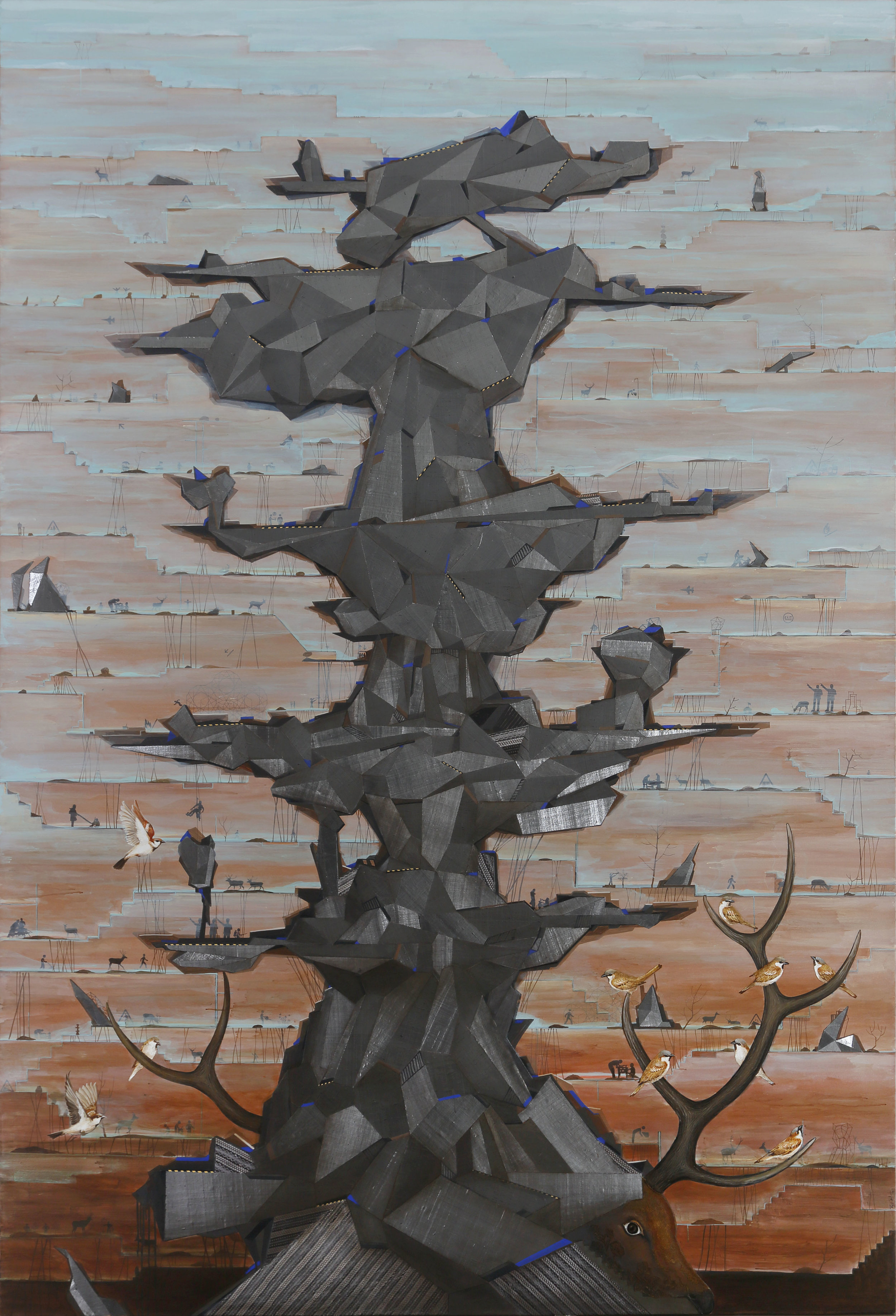 "The Structure of Arid Terrain - II | Acrylic, fabric, glue on canvas | 114"" x 78"" | 2017"