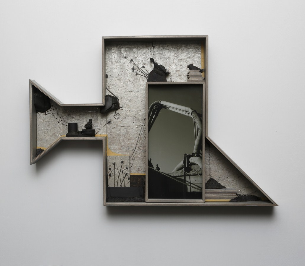 "Dweller of Metropolis - I | Paper Mache, broken toy, photograph, plywood, wood, acrylic, wallpaper, auto paint  | 17.5"" x 26"" | 2017"