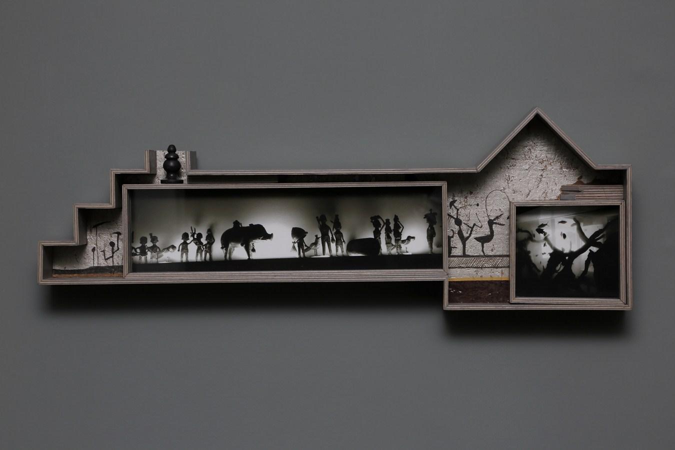 "Dweller of Metropolis - III | Paper Mache, photograph, plywood, wood, acrylic, wallpaper, auto paint | 10.5"" x 30.5"" | 2017"