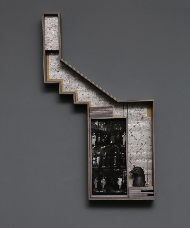 "Dweller of Metropolis - IV | Paper Mache, photograph, plywood, wood, acrylic, wallpaper, auto paint, fiberglass, wood | 26"" x 15.5"" | 2017"