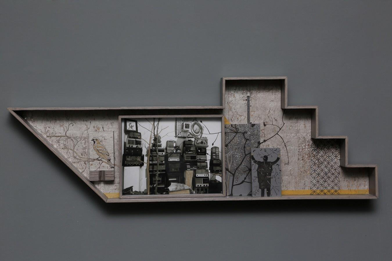 "Dweller of Metropolis - V | Photograph, plywood, wood, acrylic, wallpaper, auto paint | 12.5"" x 37.5"" | 2017"