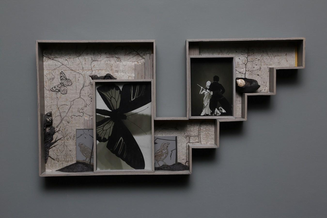 "Dweller of Metropolis - VI | Paper Mache, photograph, plywood, wood, acrylic, wallpaper, auto paint | 15.5"" x 30.5"" | 2017"