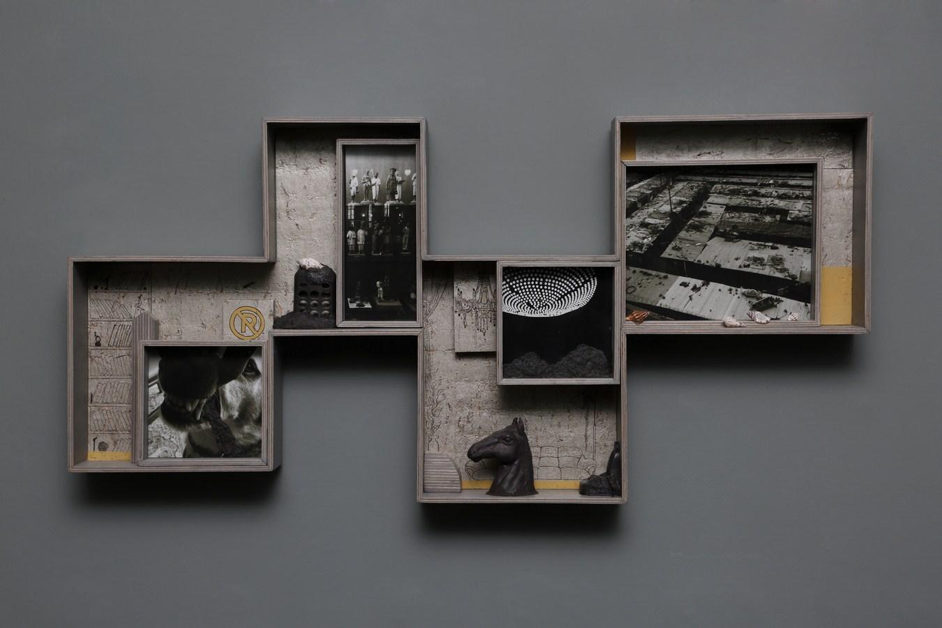 "Dweller of Metropolis - VIII | Paper Mache, photograph, plywood, wood, acrylic, wallpaper, auto paint, fiberglass | 17"" x 35"" | 2017"