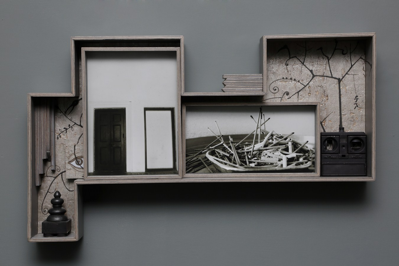 "Dweller of Metropolis - VII | Photograph, plywood, wood, acrylic, wallpaper, auto paint | 14.5"" x 24.5"" | 2017"