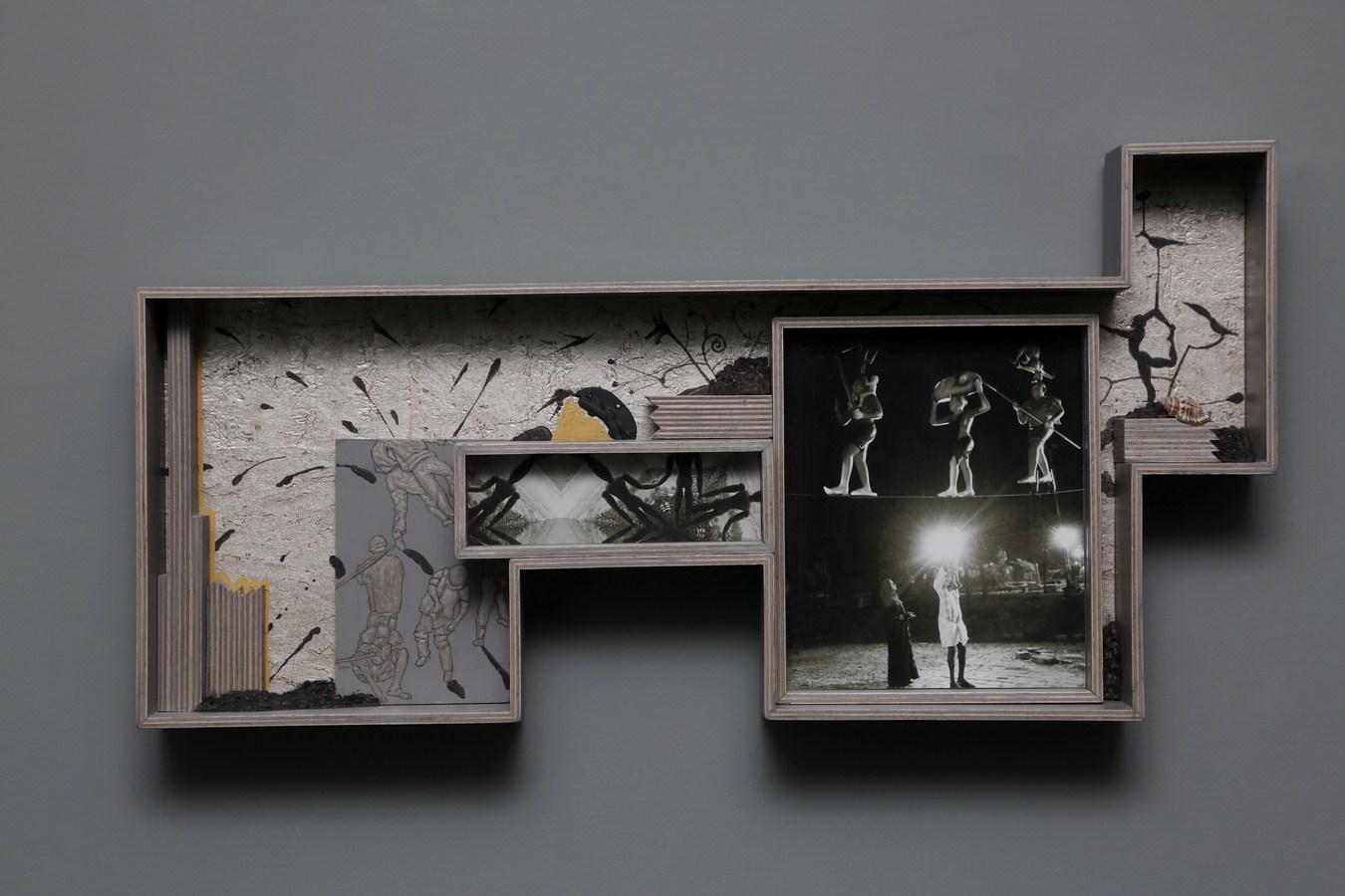 "Dweller of Metropolis - IX | Photograph, plywood, wood, acrylic, wallpaper, auto paint | 13"" x 25.5"" | 2017"