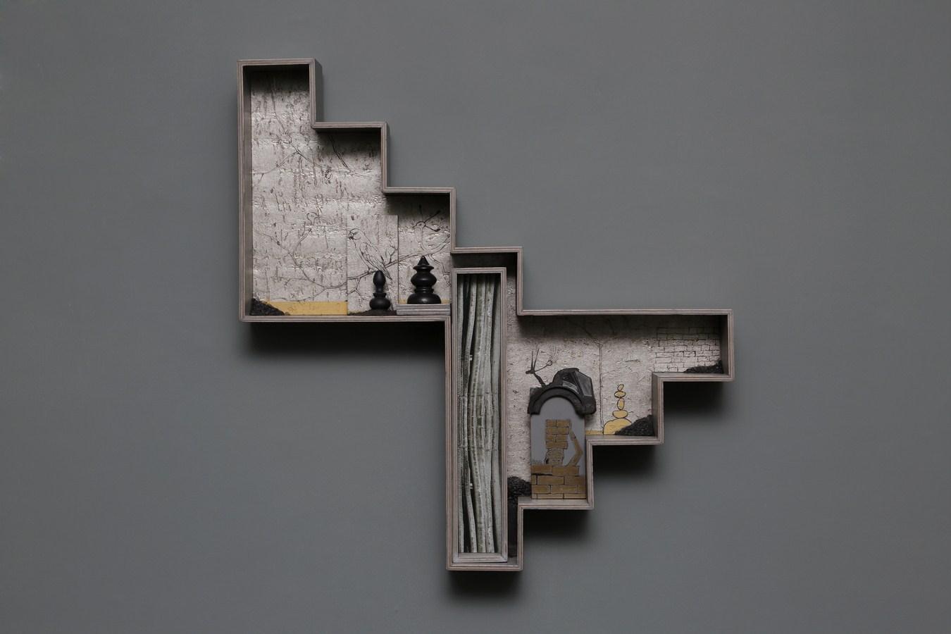 "Dweller of Metropolis - X | Paper Mache, photograph, plywood, wood, acrylic, wallpaper, auto paint | 22.5"" x 21.5"" | 2017"