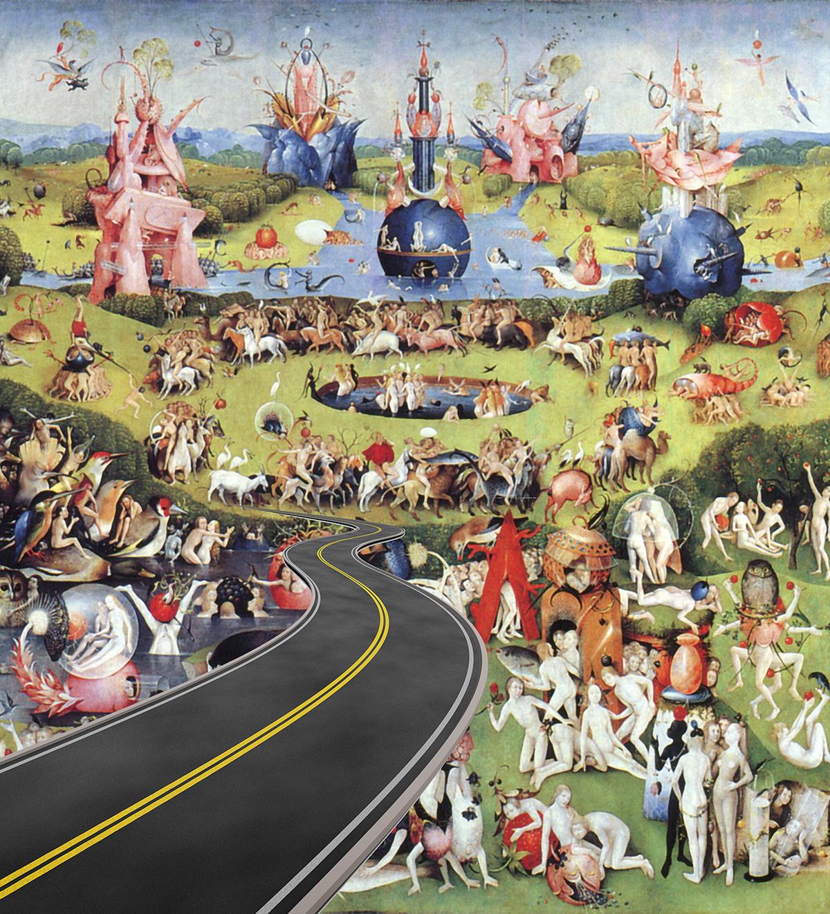 Babu Eshwar Prasad | The Highway (After Bosch) | 5.6 x 5.3 inches | Digital Print | 2015