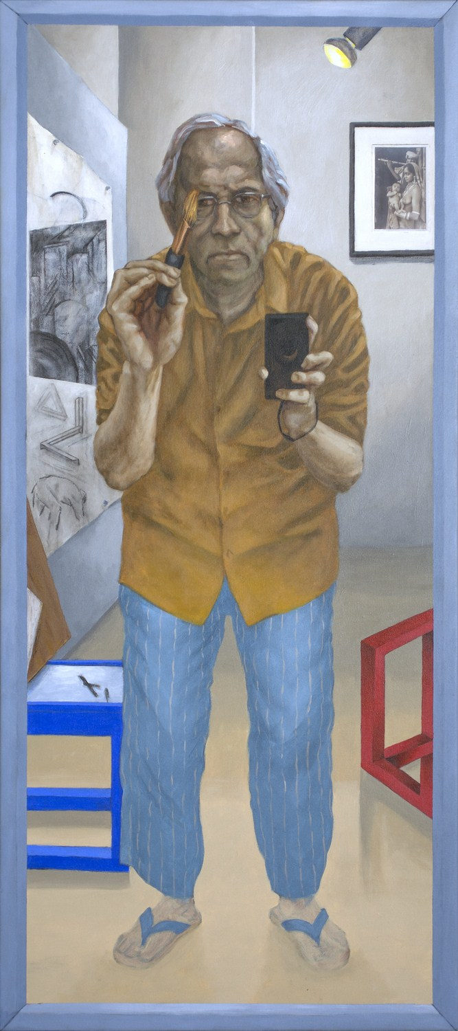 "Self-Portrait with Brush and Camera | Acrylic on canvas  | 54"" x 24"" 