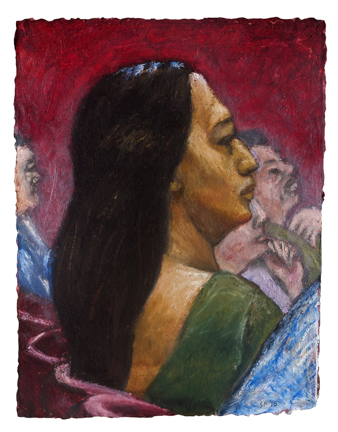 "At the Concert | Acrylic & oil stick on handmade paper | 16"" x 12"" 