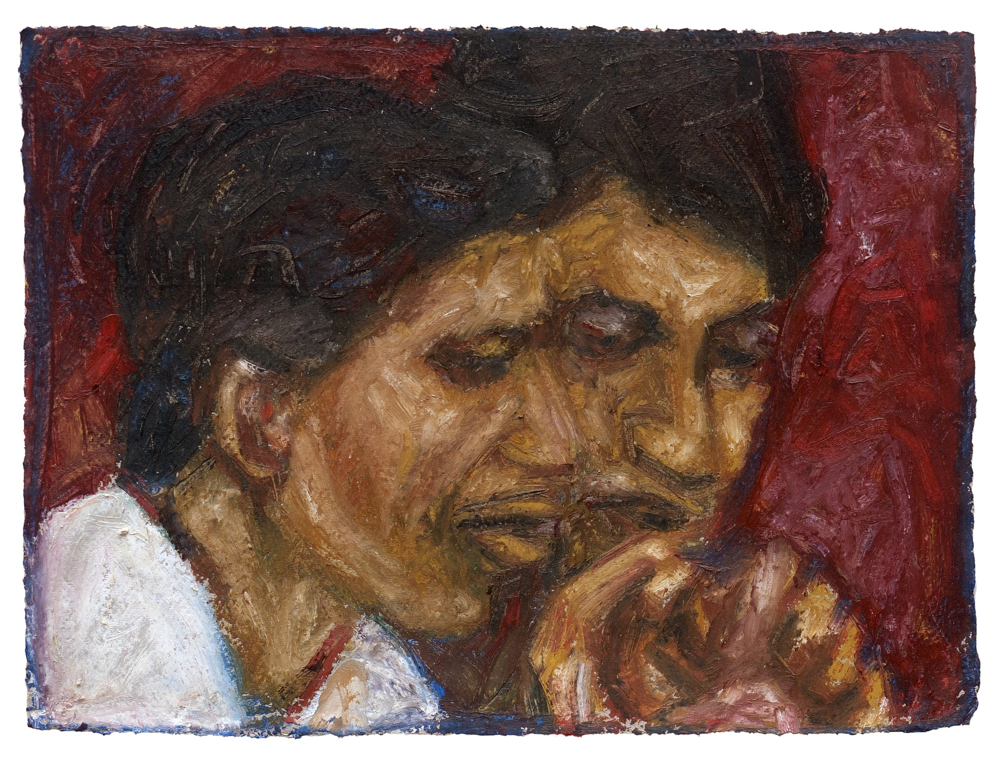 "Friends Grieving | Acrylic & oil stick on handmade paper | 16"" x 12"" 