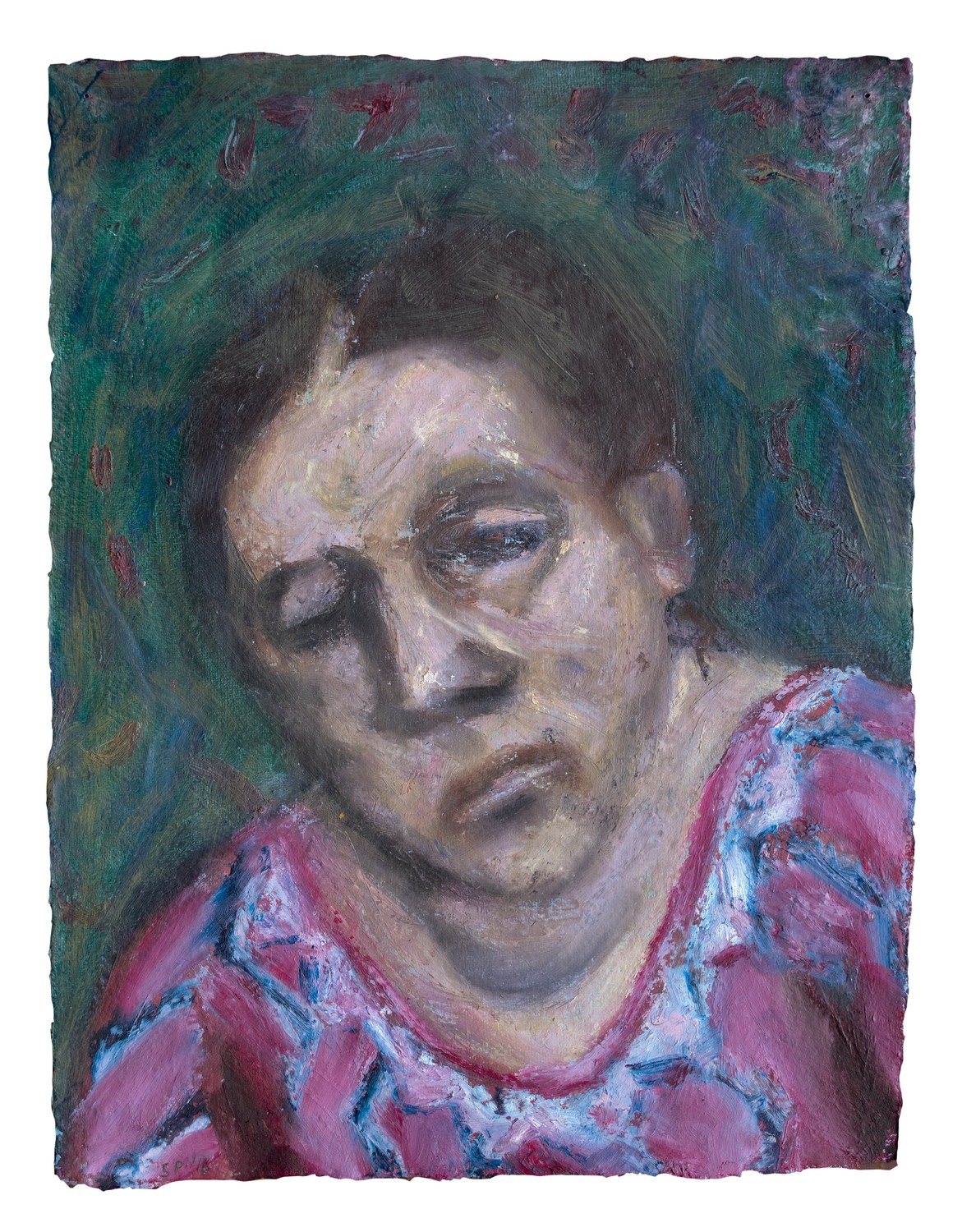 "Middle Aged Woman | Acrylic & oil stick on handmade paper  | 16"" x 12"" 