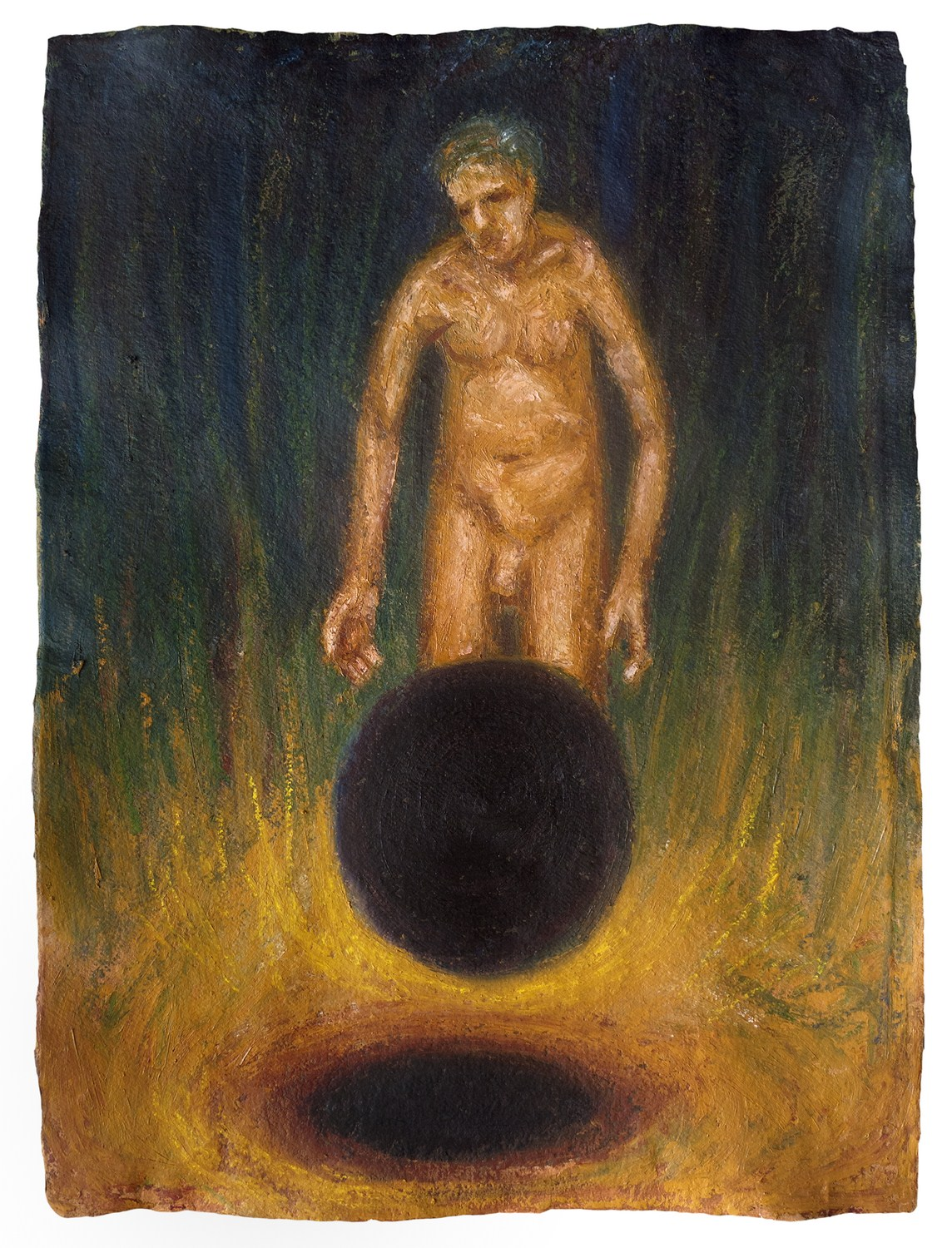 "Orb | Acrylic & oil stick on handmade paper  | 30"" x 22"" 