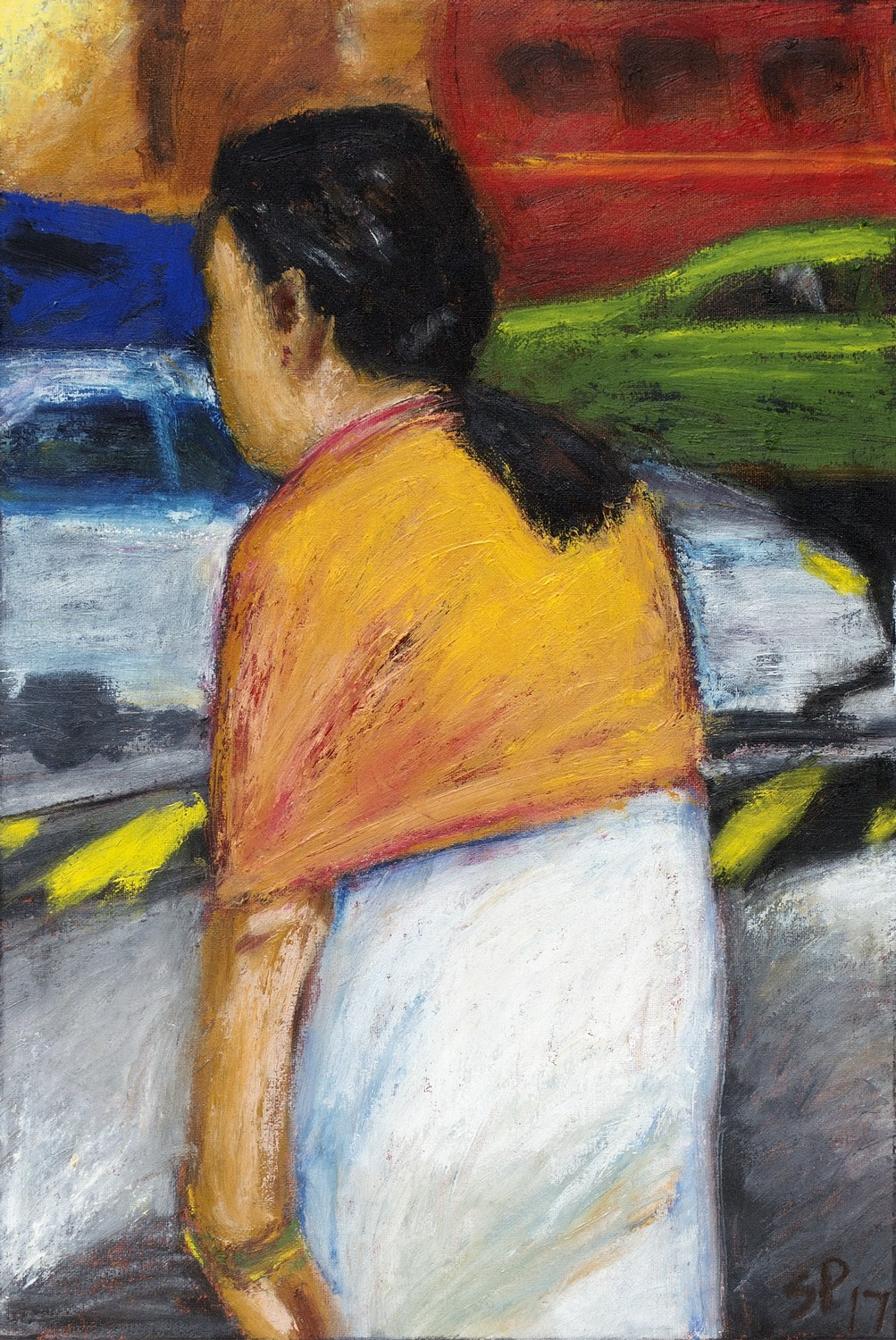 "Woman with Shawl | Acrylic & oil stick on handmade paper | 21"" x 14"" 