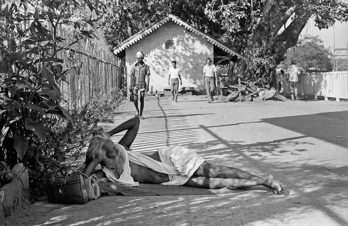 """At home on the street Bombay 1977  