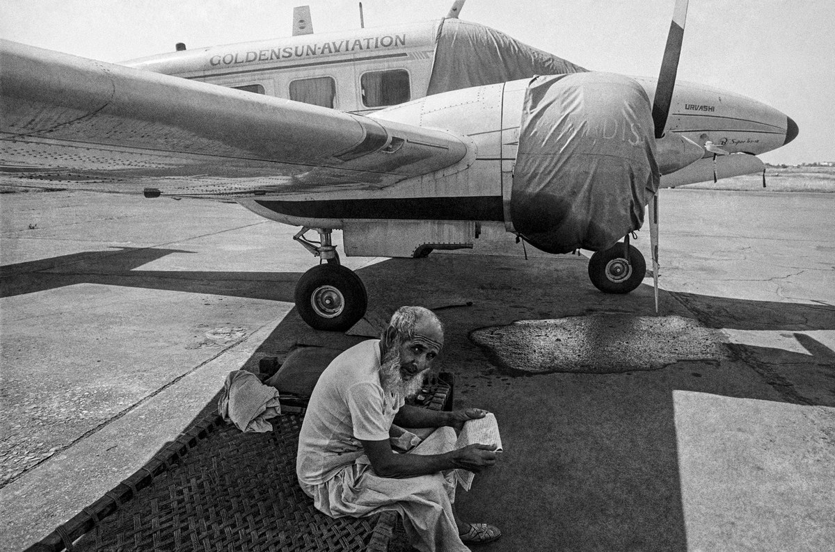 """Security guard, Juhu Airport Bombay 1982 