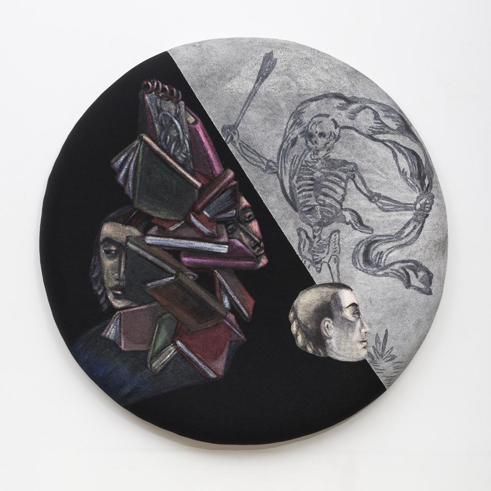 "Black Solace | Acrylic on shaped mattress | 36"" Diameter | 2017"