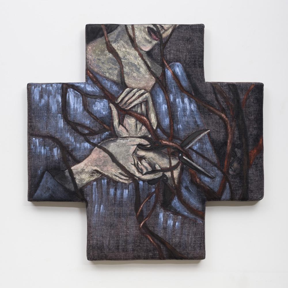 "Gardener | Acrylic on shaped mattress  | 32"" x 32"" | 2017"