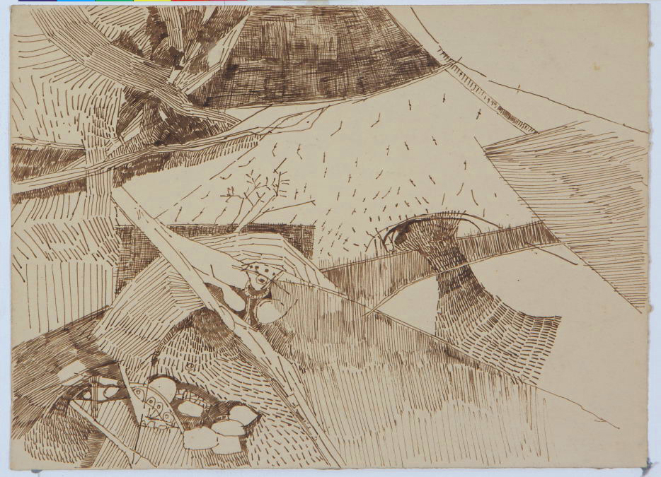 "Ram Kumar | Untitled | Pen & ink on paper | 11"" x 15"" 