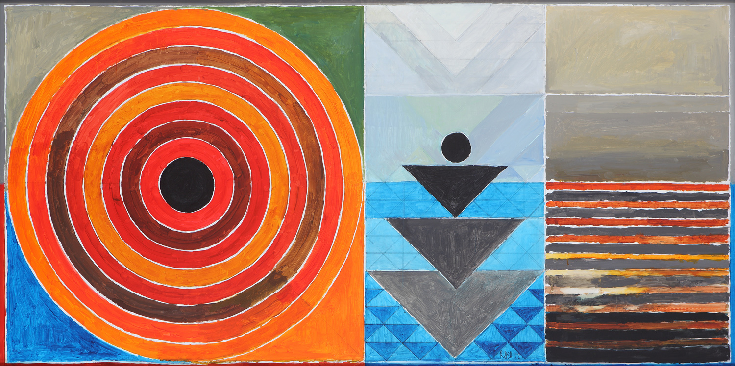 "S.H. Raza | Uday Vistaar | Acrylic on canvas | 39.5"" x 79"" 