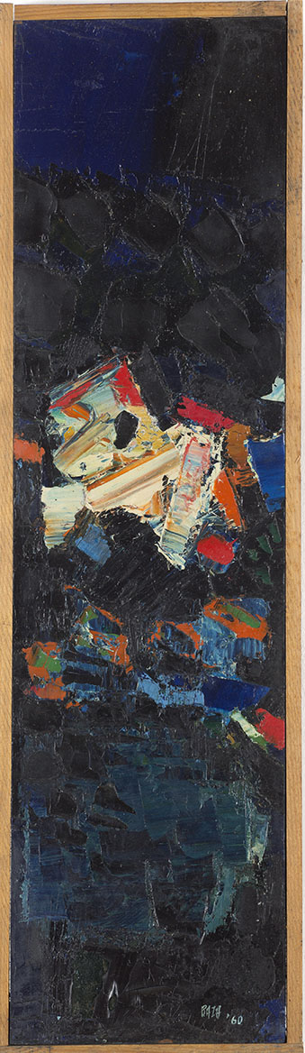 "S.H. Raza | Untitled | Oil on board | 23 1/2"" x 6"" 