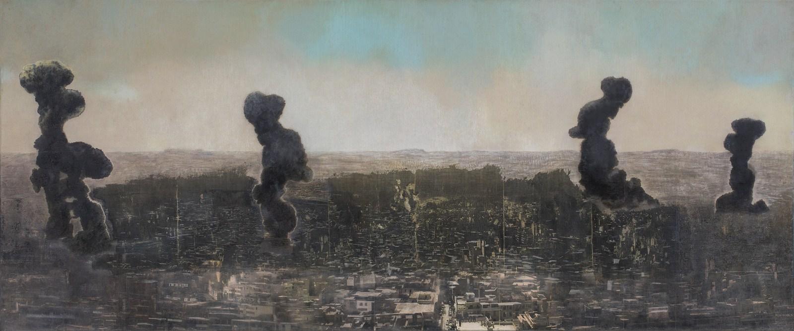 "Aleppo | Mixed media, oil on canvas | 30"" x 72"" | 2017 – 2018"