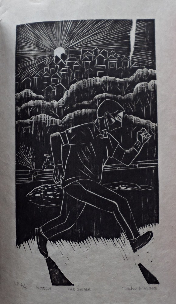 "Treibor Mawlong | The Jogger | Woodcut print | 8.25"" x 4.5"" | 2017"