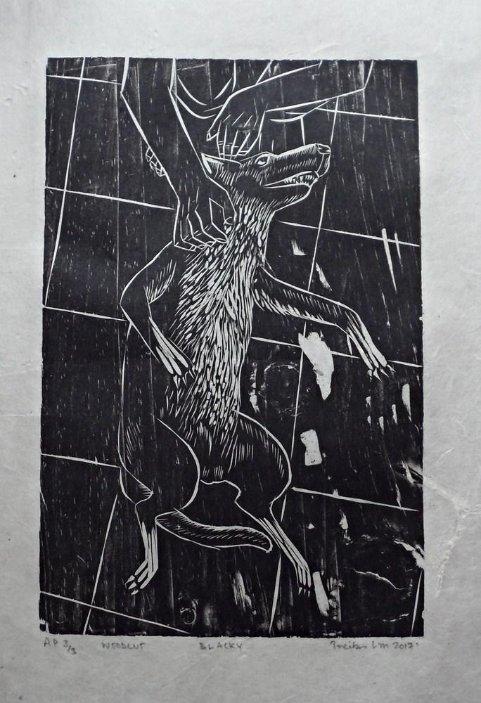 "Treibor Mawlong | Blacky | Woodcut print | 9"" x 5.75"" | 2017"