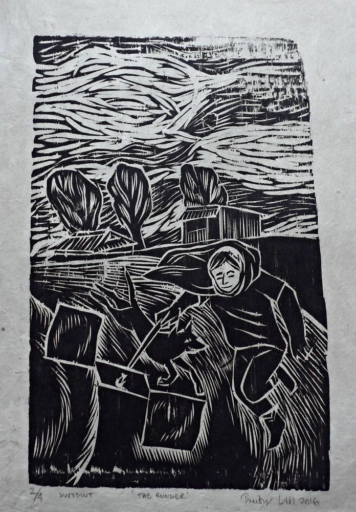 "Treibor Mawlong | The Runner | Woodcut print | 9"" x 5.75"" | 2016"